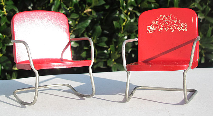 Miniature Red Rocking Chair ~ Pair vintage miniature red metal dollhouse chairs rocking